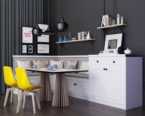 桌椅组合, 餐桌椅, 现代, 单椅, 餐桌, 桌子, 卡座, 装饰架, 陈设品, 摆件, 摆设