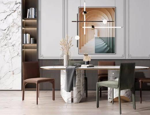 餐桌, 吊灯, 桌椅组合, 装饰画