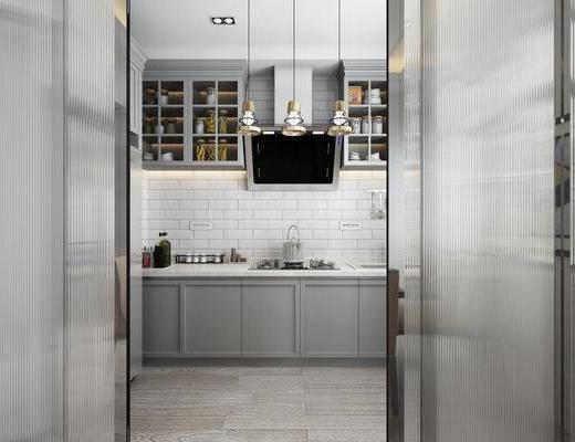 厨房, 折叠门, 橱柜, 厨具, 吊灯, 装饰柜, 餐具, 现代