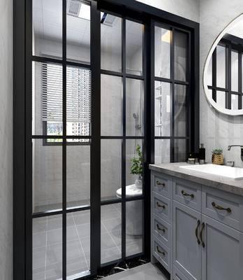 浴室柜, 洗手台, 镜子组合, 马桶花洒