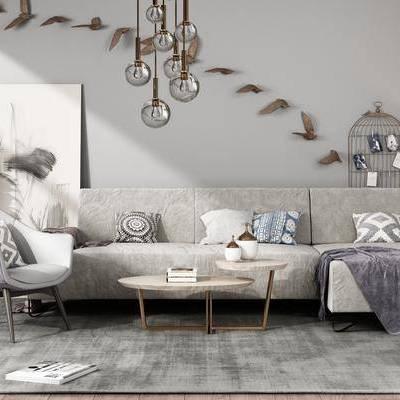 沙发组合, 沙发, 茶几, 吊灯, 墙饰, 挂画, 装饰画, 盆栽, 沙发椅, 落地灯