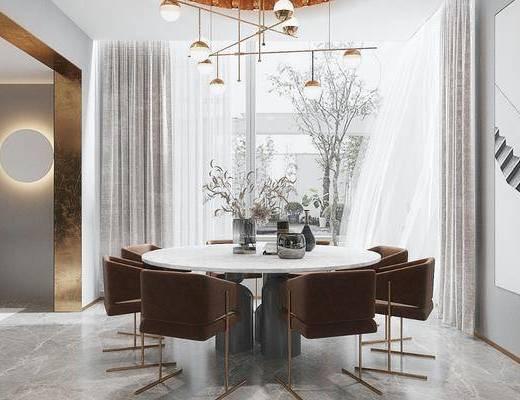 餐桌, 桌椅组合, 摆件, 花瓶, 吊灯
