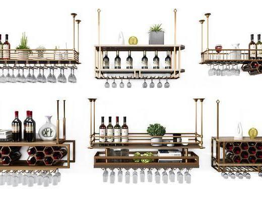 金屬酒架, 酒瓶酒杯, 現代