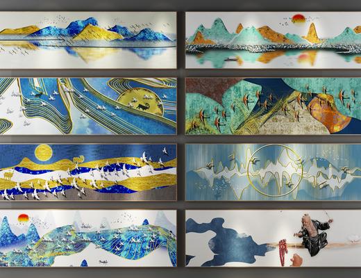 装饰画, 挂画组合, 风景画, 新中式