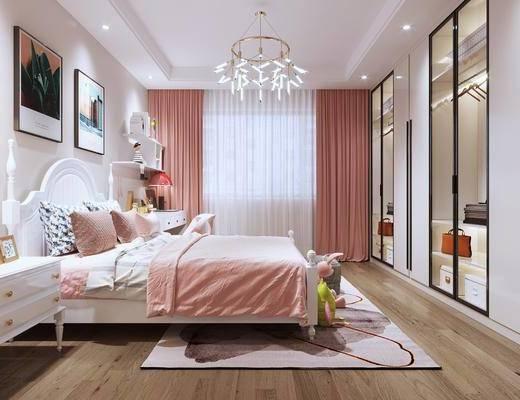 现代, 女儿房, 单人床, 床头柜, 衣柜