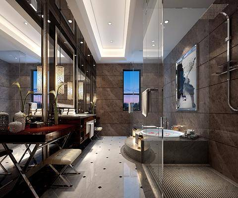 卫生间, 浴缸, 洗手台, 吊灯, 凳子, 桌子, 装饰画, 挂画, 花洒, 装饰镜, 中式