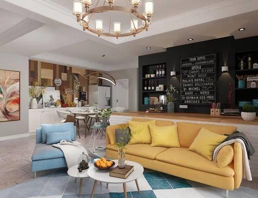 客厅餐厅, 沙发组合, 茶几, 灯具, 边柜, 餐桌椅, 摆件, 北欧