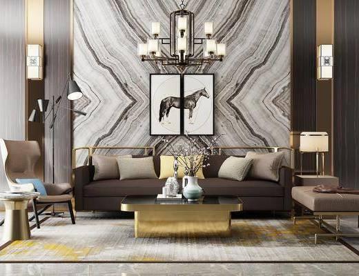 新中式沙发吊灯壁灯组合, 中式吊灯, 中式挂画, 茶几, 壁灯, 沙发椅
