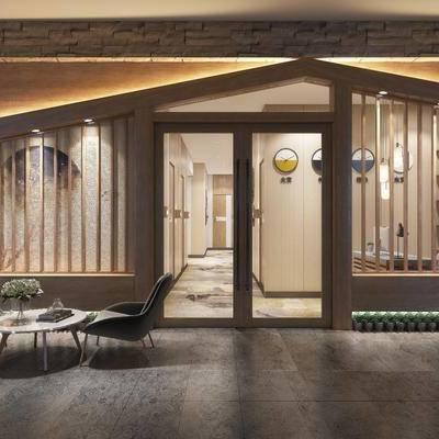 酒店, 客房, 门头, 茶几, 单椅, 椅子, 花瓶, 花卉, 床具, 双人床, 卫浴, 日式, 置物柜, 墙饰, 边几