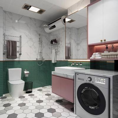 北歐衛生間, 洗衣機組合, 洗手臺組合, 馬桶組合, 空調組合, 裝飾鏡組合