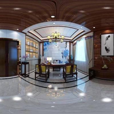 办公室, 新中式办公室, 全景图, 办公桌, 桌子, 椅子, 单椅, 吊灯, 置物柜, 摆件, 装饰品, 沙发, 茶几, 多人沙发, 端景台, 挂画, 装饰画, 新中式