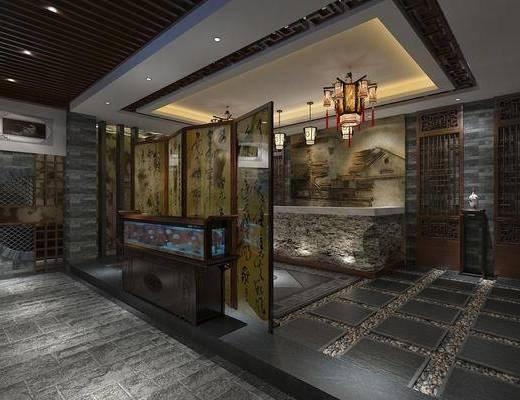 酒店大堂, 大堂大厅, 门面门头, 中式