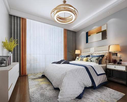 现代, 卧室, 床, 吊灯, 边柜, 床头柜, 装饰画, 挂画, 台灯, 陈设品, 后现代