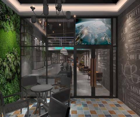 咖啡厅, 餐桌, 餐椅, 门面门头, 工业风