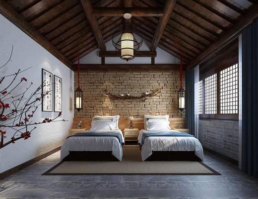 中式客房, 客房, 双人房, 双人客服, 卧室, 中式