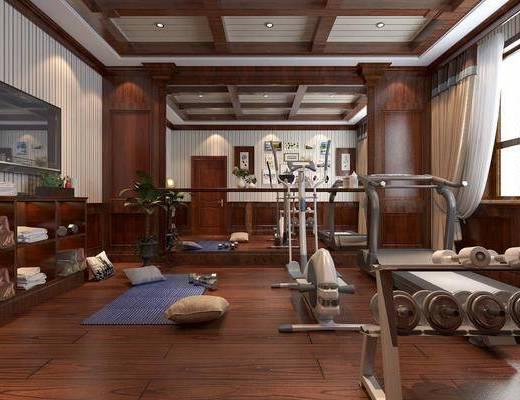 健身房, 娱乐会所, 健身器材, 中式