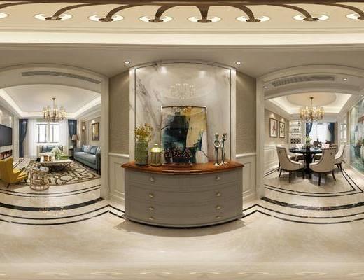 美式客餐厅, 客餐厅, 美式客厅, 美式餐厅, 客厅, 餐厅