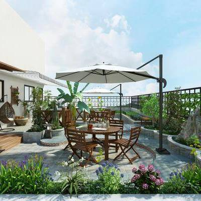 露天花园, 植物, 户外桌椅, 假山, 栏杆, 雨棚, 阳台, 菜园, 楼顶花园
