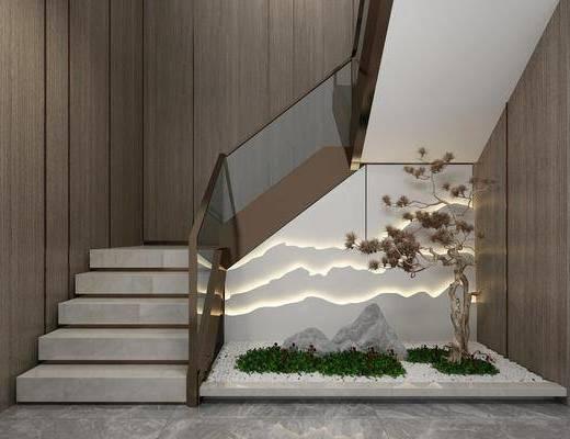 楼梯, 景观小品, 植物