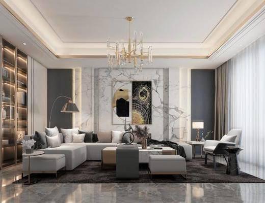 沙发组合, 装饰画, 吊灯, 单椅, 摆件组合