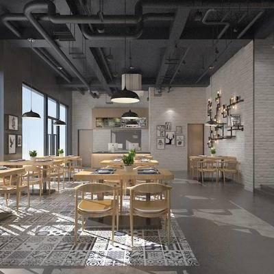 工业风餐厅, 餐厅, 餐桌椅, 桌椅组合, 现代