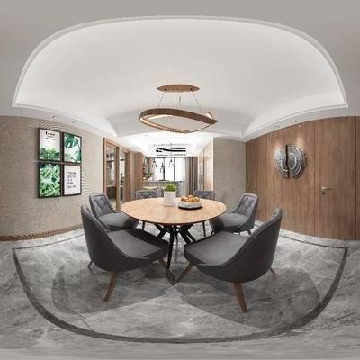现代餐厅, 现代, 餐厅, 餐桌椅, 椅子, 装饰画, 现代吊灯