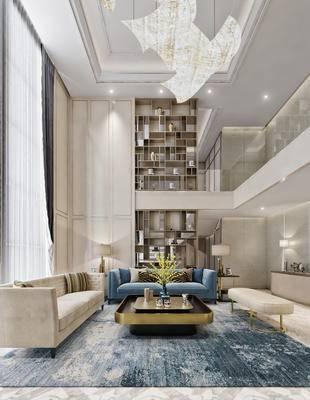 现代, 后现代, 别墅, 复式, 客厅, 沙发组合, 沙发茶几组合, 客餐厅, 餐桌椅, 桌椅组合, 椅子, 桌子, 装饰柜, 吊灯