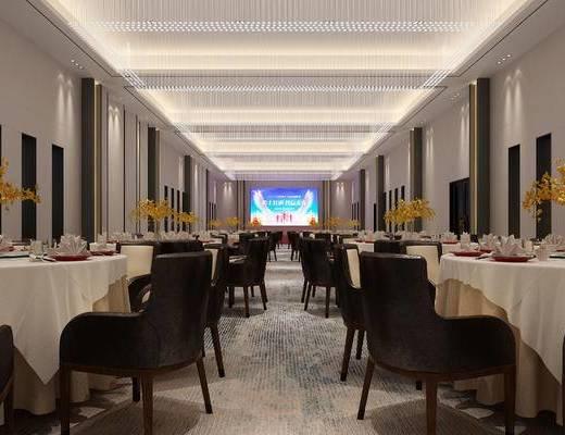 宴会厅, 酒店, 桌椅组合, 桌花, 餐具组合