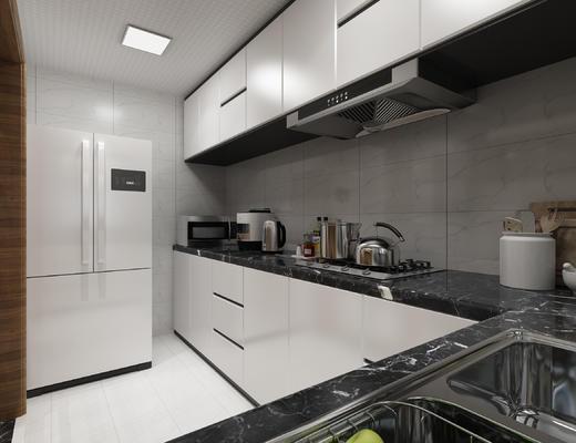 橱柜, 冰箱, 微波炉, 电饭锅, 热水壶, 煤气灶, 油烟机, 洗菜池, 油盐酱醋