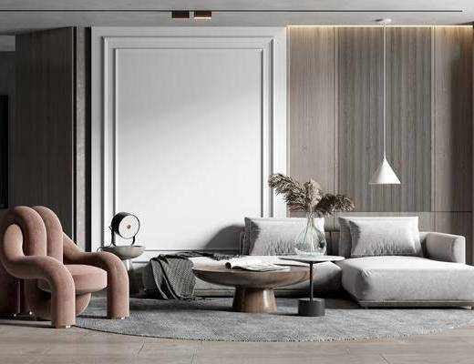 沙发组合, 茶几, 单椅, 吊灯