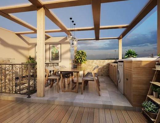 庭院, 餐桌, 植物, 遮阳伞