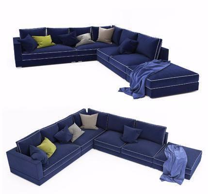 现代沙发, 多人沙发, 布艺, 现代