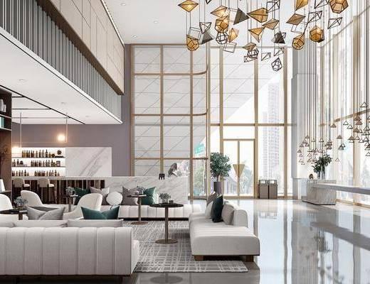 售楼处, 沙发组合, 吊灯, 装饰柜, 茶几, 桌椅组合