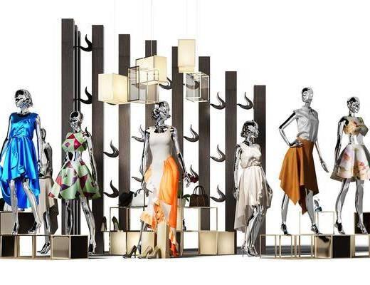 衣服, 展架, 展示架, 吊灯, 人偶, 女士, 隔断, 手提包, 鞋子, 高跟鞋, 现代