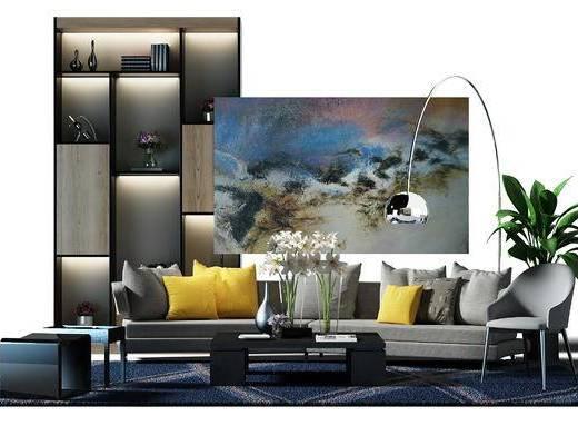 边柜, 书柜, 装饰柜, 酒柜, 落地灯, 盆景, 植物, 凳子, 现代, 沙发组合, 单椅, 装饰画, 陈设品
