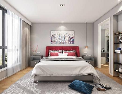 现代, 卧室, 双人床, 床具, 吊灯, 挂画, 床头柜, 书架, 置物架, 装饰画