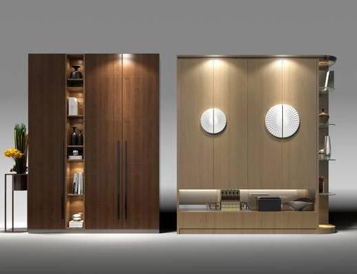 衣柜, 衣橱, 边柜, 装饰柜, 盆景, 植物