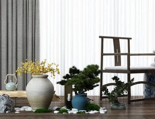 花瓶, 盆栽, 盆景, 新中式, 中式, 单椅, 椅子, 茶壶
