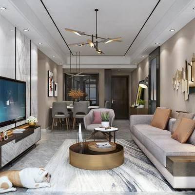 现代客餐厅, 沙发, 茶几, 电视柜, 餐桌椅, 挂画, 边柜, 墙饰, 台灯