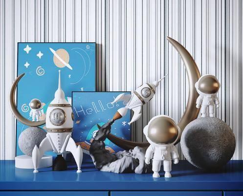 太空, 宇航员, 火箭, 玩具, 装饰摆件