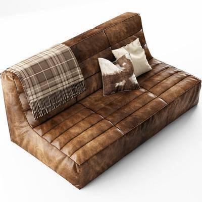 多人沙发, 抱枕, 皮革, 围巾, 现代