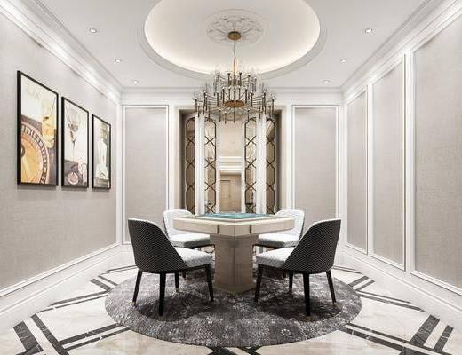 棋牌室, 麻将桌, 装饰画, 吊灯