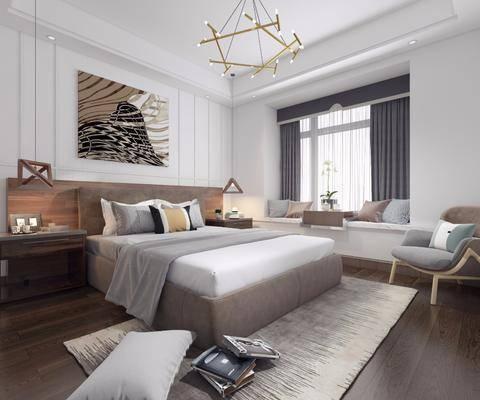 卧室, 双人床, 单人沙发, 床头柜, 吊灯, 装饰画, 挂画, 榻榻米, 摆件, 装饰品, 陈设品, 北欧