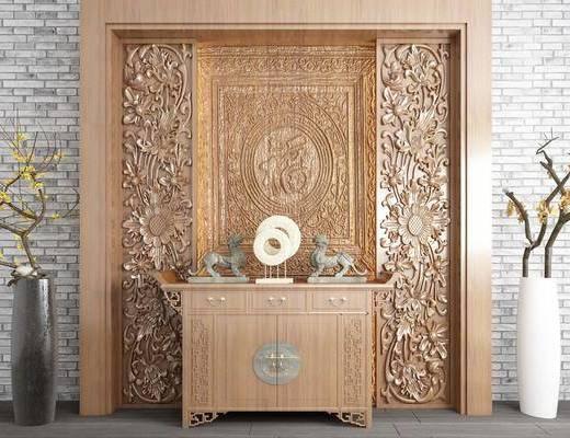 雕花板, 浮雕屏风, 玄关柜, 边柜, 背景墙, 花瓶组合, 摆件, 装饰品, 陈设品, 新中式