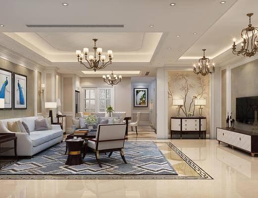 客厅, 餐厅, 简美客餐厅, 沙发组合, 茶几, 摆件, 桌椅组合, 单椅, 台灯, 电视柜, 吊灯, 简美, 装饰柜