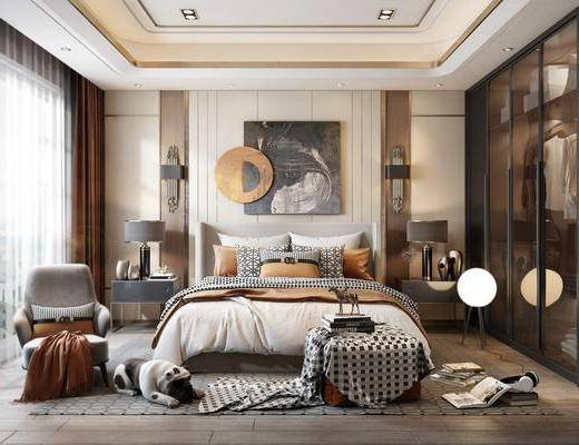 雙人床, 衣柜, 地毯, 落地燈, 裝飾畫, 單椅