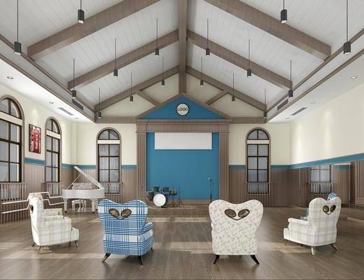 幼儿园, 单人椅, 吊灯, 钢琴, 鼓架, 桌椅板凳, 架子鼓, 活动室, 现代