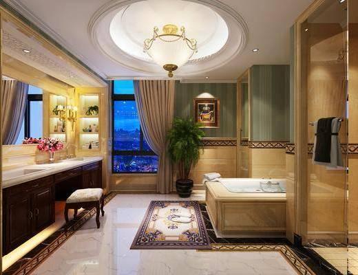 卫生间, 浴缸, 洗手台, 吊灯, 装饰柜, 凳子, 摆件, 装饰品, 陈设品, 壁灯, 欧式
