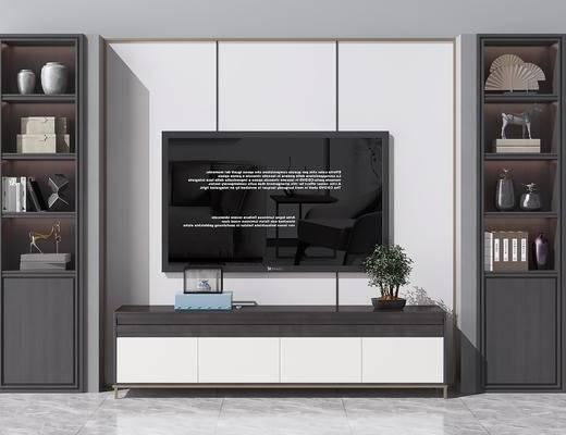 电视背景墙, 电视柜, 边柜, 摆件, 装饰品, 陈设品, 书籍, 新中式