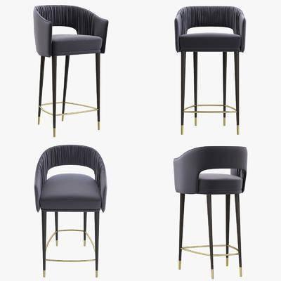 吧椅, 布艺椅, 纯色椅, 现代布艺吧椅, 现代椅, 现代, 高脚椅